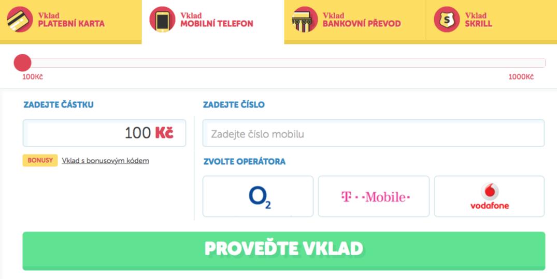 Vklad mobilnim telefonem od 100 Kč