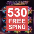 530 volných roztošení v českém kasínu Bohemia na automatu Starburst