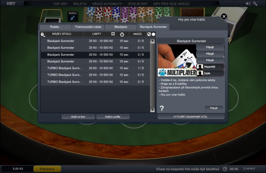 Ve Fortuně si nově zahrajete i ruletu a blackjack