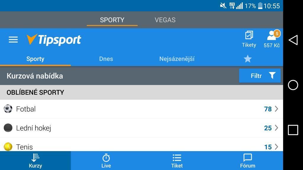 mobilní kasino od Tisportu