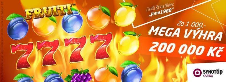 200 tisíc na ovocném automatu v casinu Synot Tip